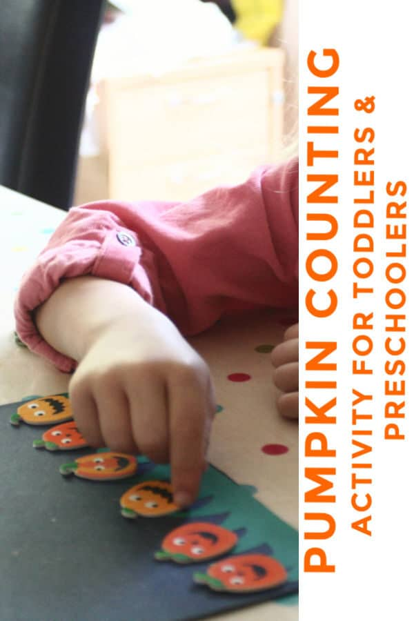 Pumpkin counting activity using stickers for preschoolers and toddlers