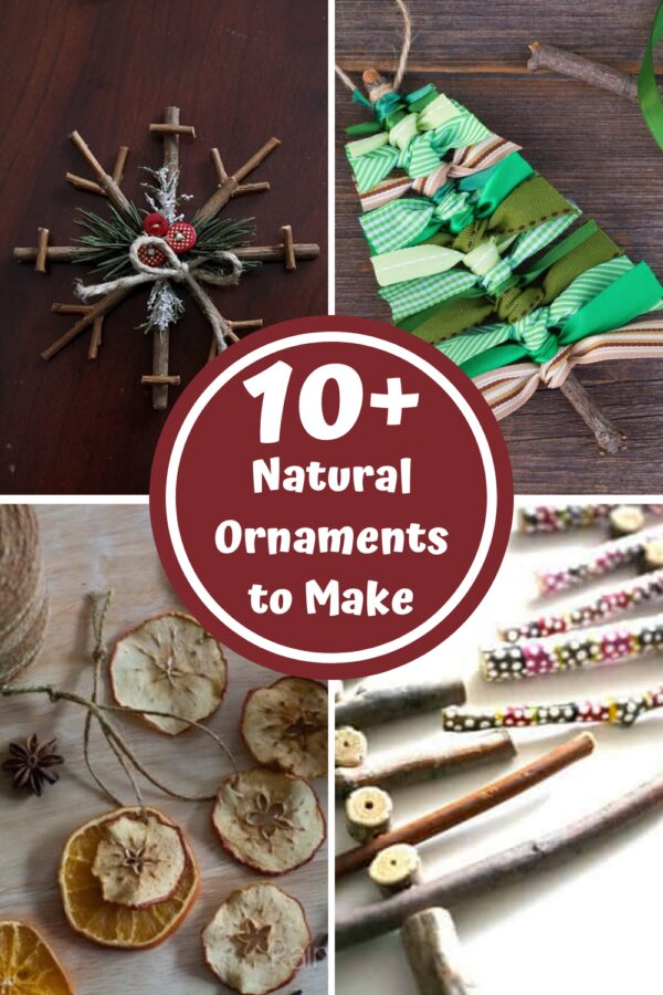 Collage of 4 nature crafts to create with kids this Christmas, twig snowflakes, cinnamon ribbon trees, orange and apple slices and trig trees