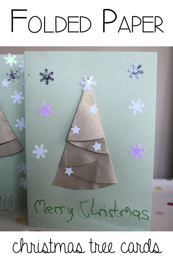 Folded Paper Christmas Tree Cards for you and your kids to makeFolded Paper Christmas Tree Cards for you and your kids to make