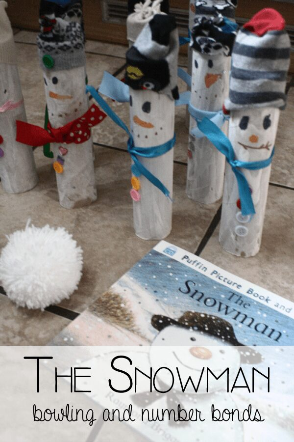 The Snowman - DIY bowling game to work on number bonds