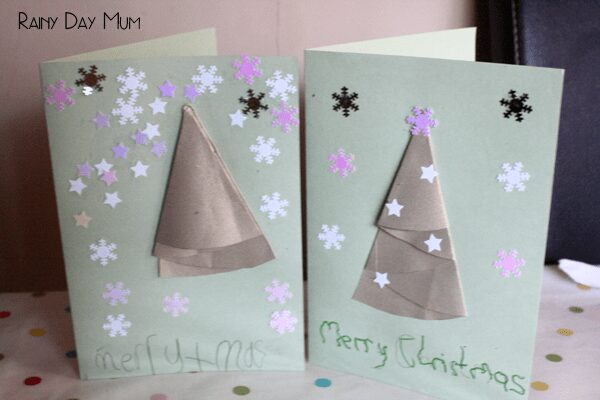 Folded Paper Christmas Tree Cards for you and your kids to make