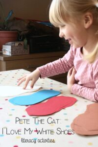 Pete the Cat; I love my white shoes based literacy activities for preschoolers