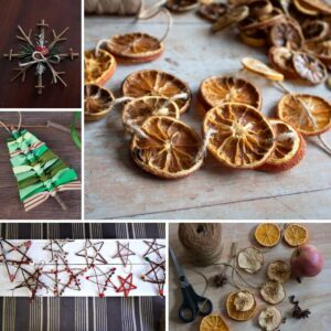 collage of simple natural ornaments that you and your kids can make this Christmas