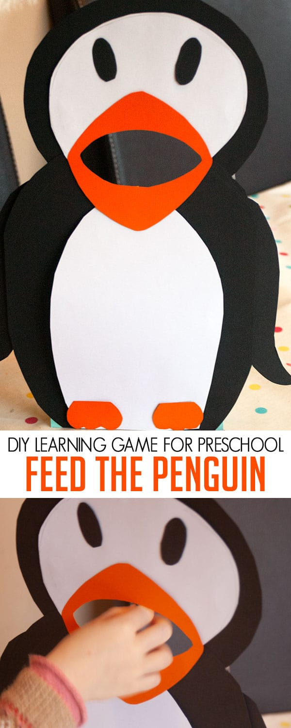 DIY game for preschoolers ideal for Polar or Winter themes with a Penguin. Feed the penguin fish with the different ideas that you are teaching your preschooler at the moment. Ideal for hands-on play and learning with your tots.
