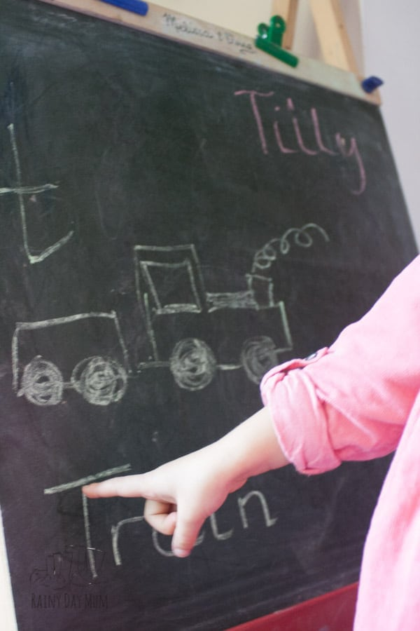 Chalkboard low prep activity for preschoolers to work on letter recognition and names