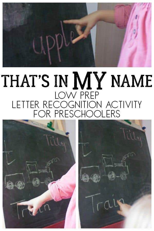 That's in MY name, low prep letter recognition activity for preschoolers