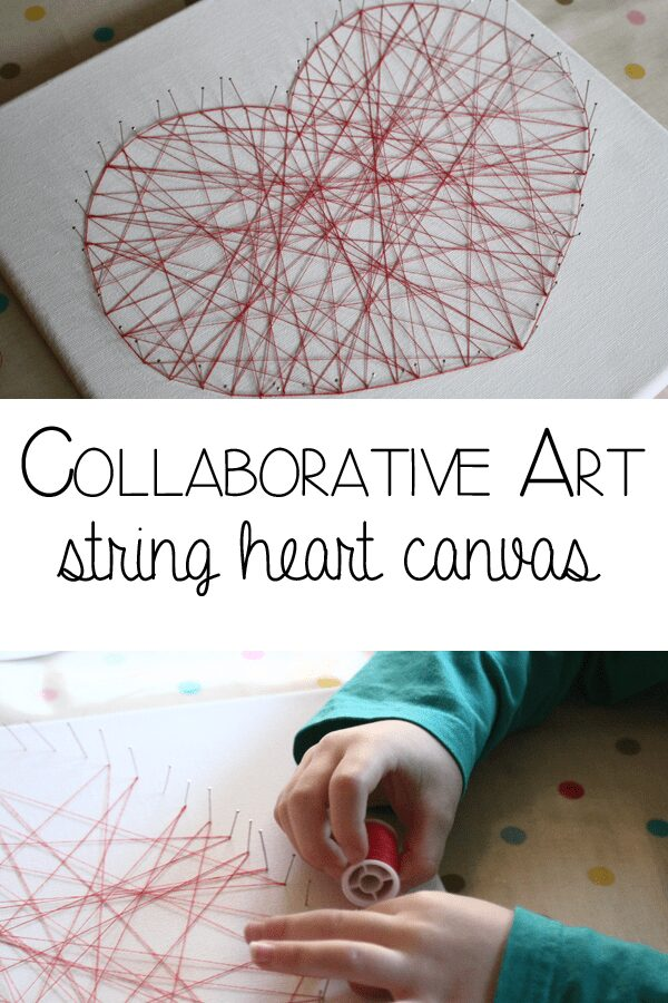 Collaborative Art for the family to make together, string heart canvas