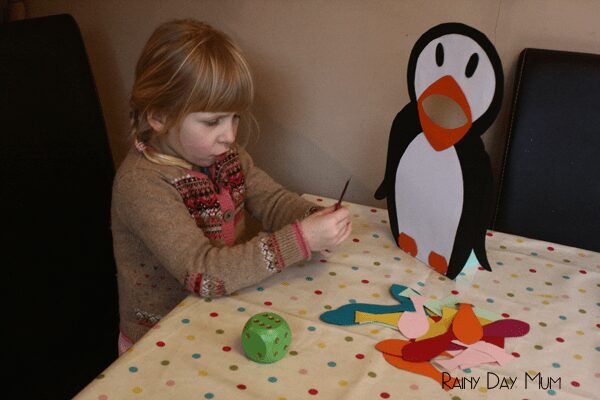 Feed the Penguin - preschool game for math and literacy