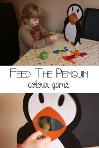 A fun winter or polar-themed game for preschoolers to feed the penguin. Full instructions on making the stand up penguin and the ideas and inspiration for using it to play simple learning games with preschoolers at home or in the classroom.