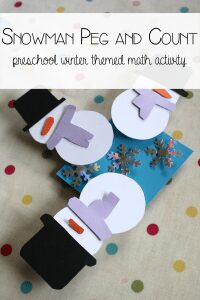Snowmen Count and Peg Math Activity for Preschoolers.