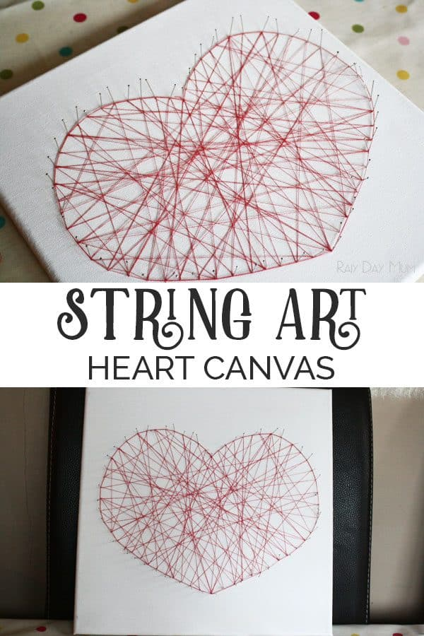 String Art Canvas Heart for Kids and You to Make