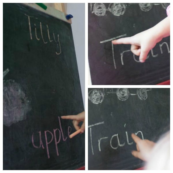 Simple Letter Activity using the chalkboard and familiar words to help preschoolers with letter recognition