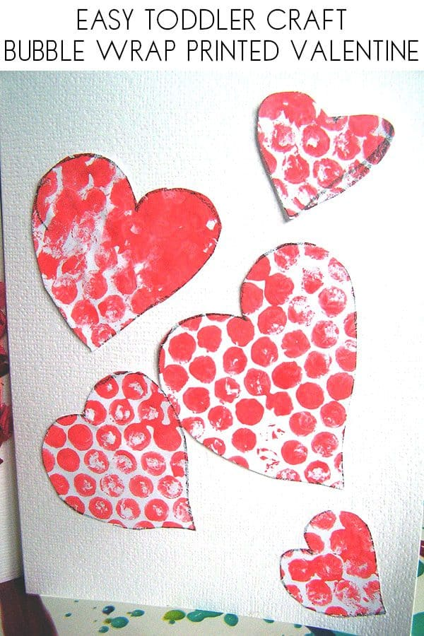 Easy toddler valentine's card to make with bubble wrap printed hearts