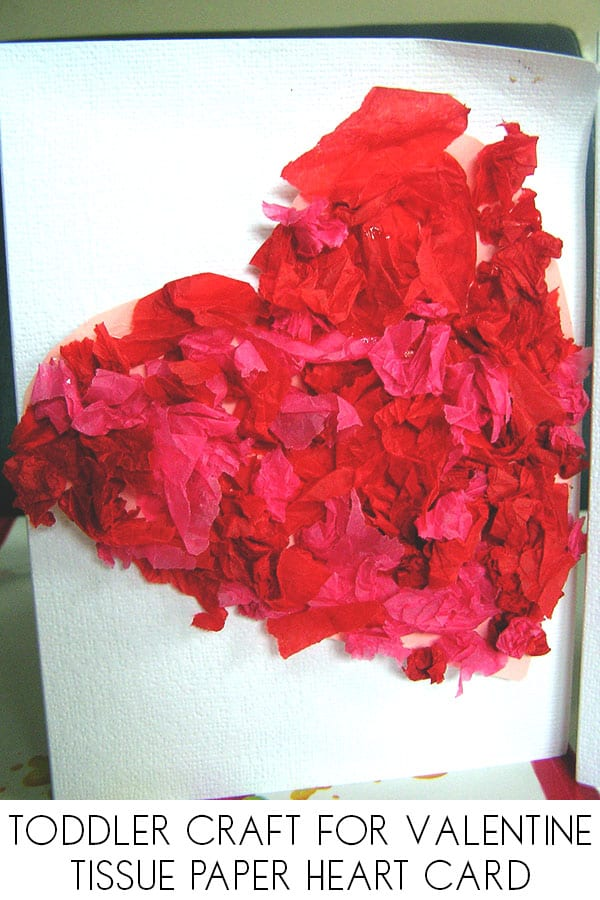 Simple toddler made valentine's day card with tissue paper heart