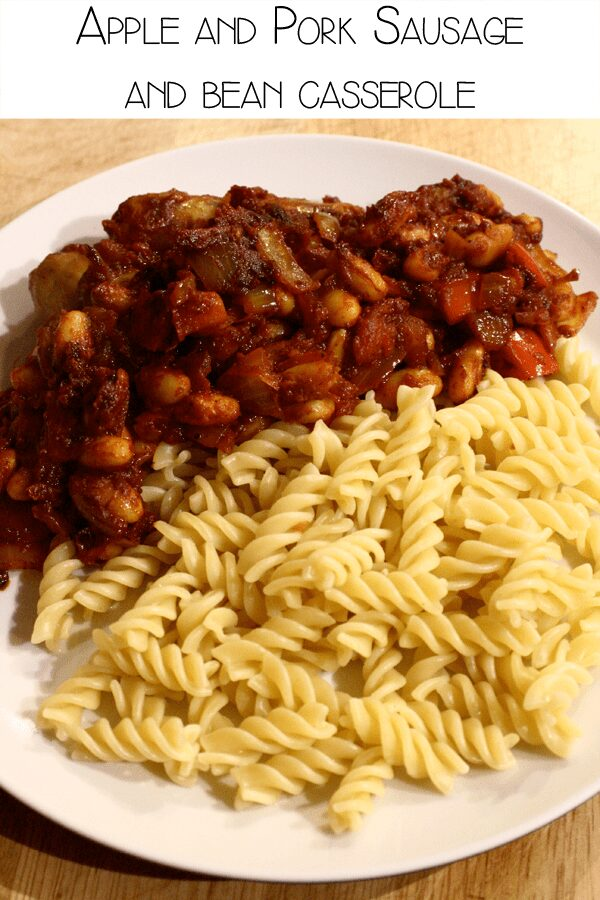 Apple and Pork Sausage and bean casserole to cook with kids