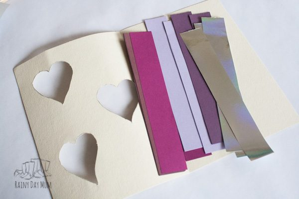 assembling an easy valentines card for kids to make