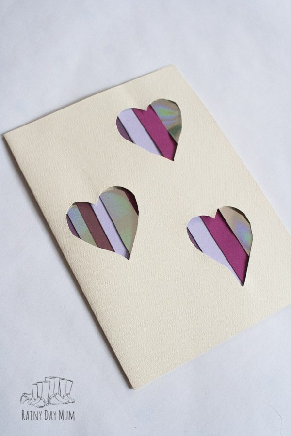Finished cut out heart Valentine's Card to make with kids