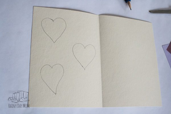 heart card for preschoolers to make sketching out heart shaped cutouts