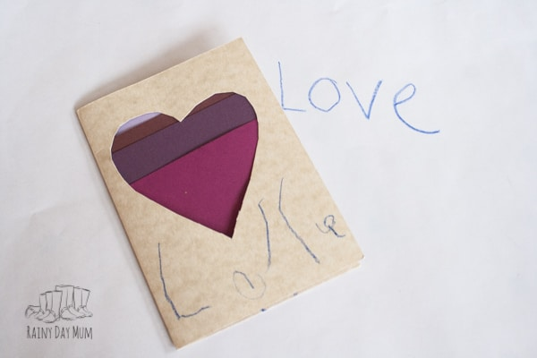 preschooler valentines card with attempt at copying letters