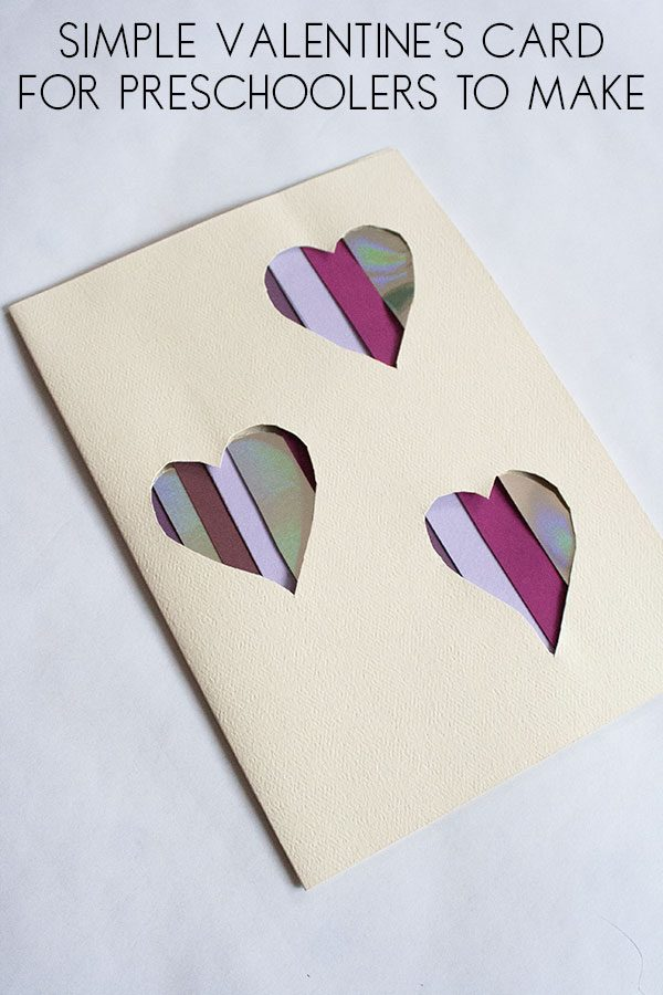 Simple Valentine's Card to make with kids ideal for a preschool craft idea