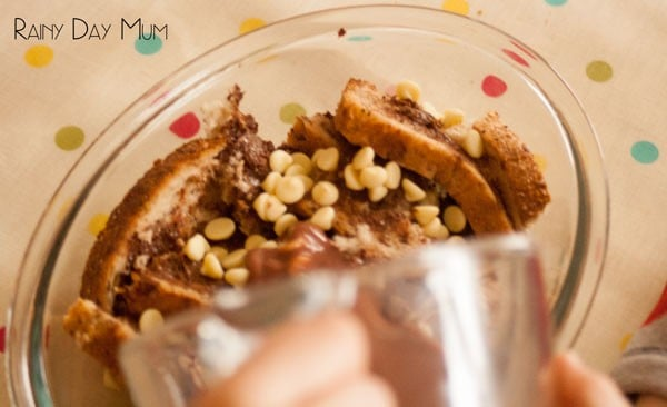 Chocolate Bread and Butter Pudding - a twist on the traditional British pudding perfect to make with kids