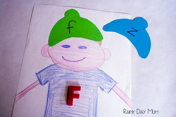 Upper and lower case letter matching hats activity for young children