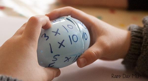 Multiplication Eggs - hands on times table practice for kids