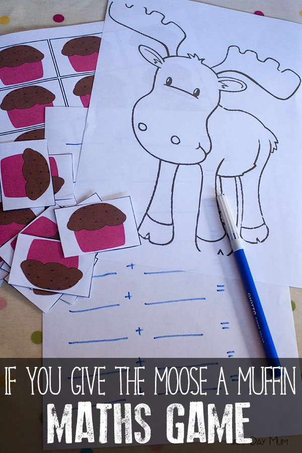 Muffin Printable Math Game based on If you Give a Moose a Muffin