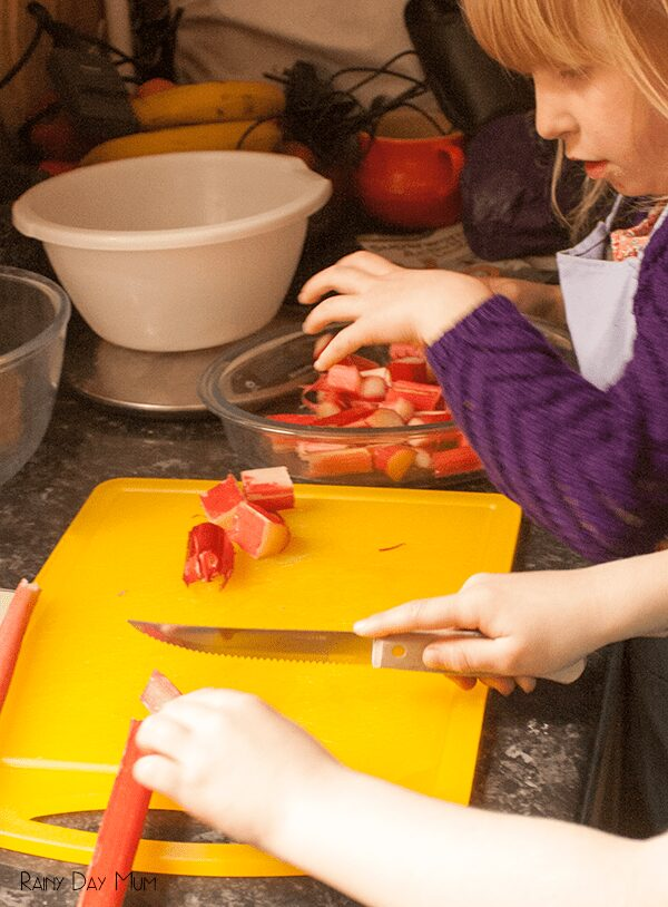 Rhubarb Crumble Recipe - cooking with kids seasonal food
