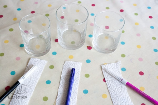 Chromatography experiment for kids to separate the colours of ink with water as a solvent.