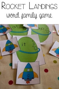 Rocket Landings word family game for blending beginning sounds and common endings - FREE Printable