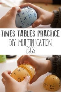 Hands-on times tables practice for kids - simple to set up and easy to reuse with different ages and times tables. Use up the excess plastic Easter eggs to create these simple DIY puzzles for working on multiplication with kids.