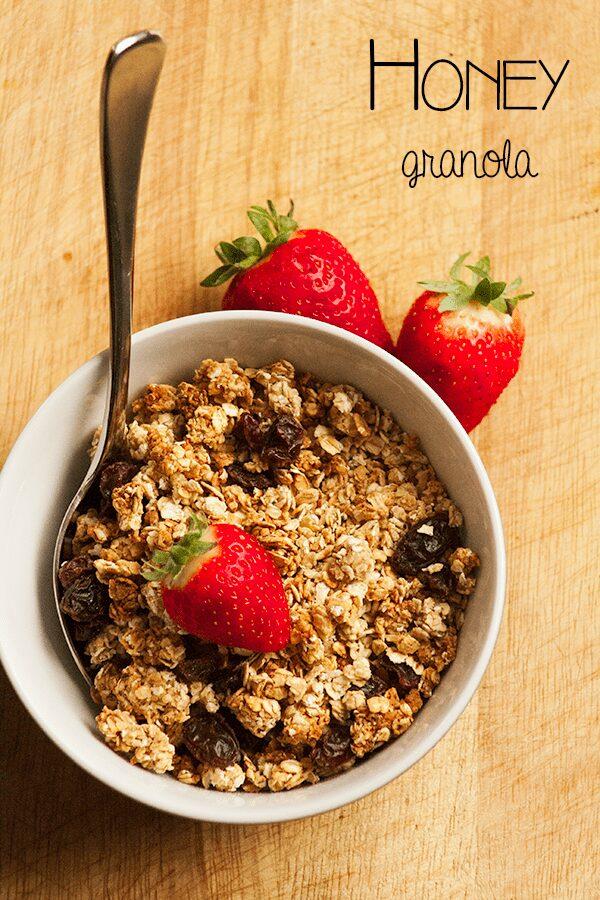 Honey Granola Recipe - no refined sugar and easy to make with kids