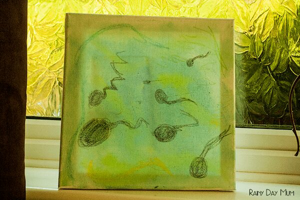 Wax Resist Water colour - pond canvas