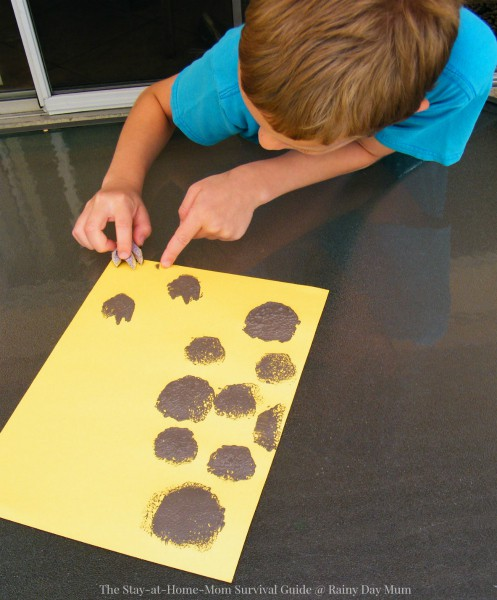 Make your own dinosaur footprint stamps and create tracks as you bring to life the storybook Dinosaurs Everywhere