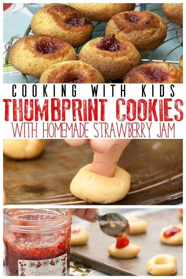 Make these delicious Strawberry Jam Thumbprint Cookies, the recipe includes a homemade strawberry Jam that is so easy to make kids can make it too.