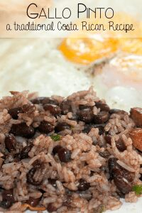 Learning about the world and different countries through food, this is the traditional Costa Rican Recipe for Gallo Pinto a staple of all Tico families for breakfast if not more meals