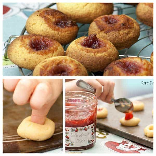 strawberry jam thumbprint cookies to cook with kids