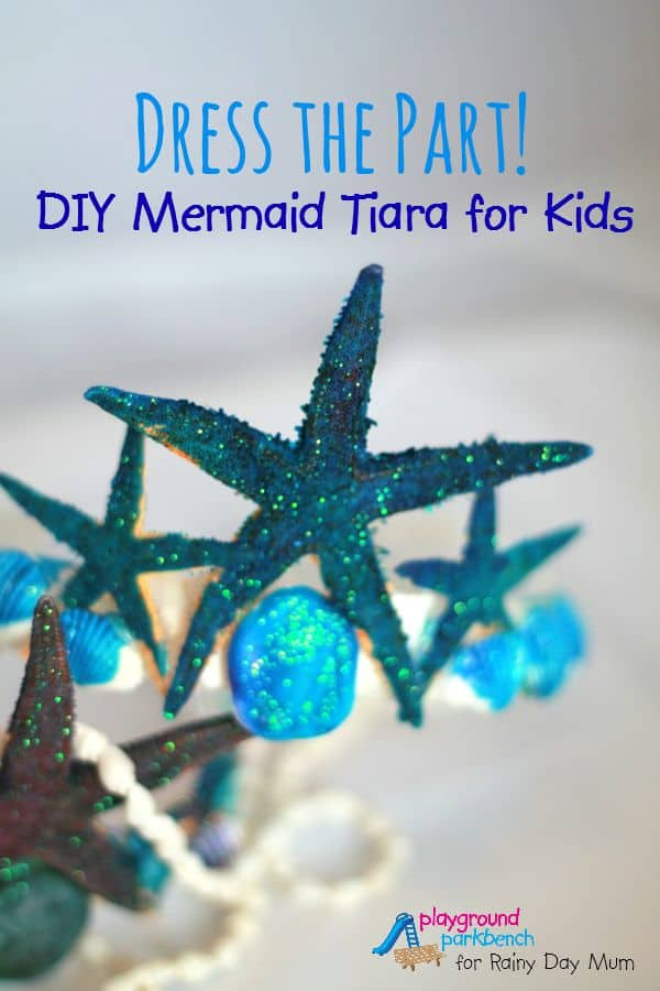DIY Mermaid Tiara craft for kids to make and play with bringing alive the storybook Fancy Nancy and the Mermaid Ballet ideal for Summer Role Play