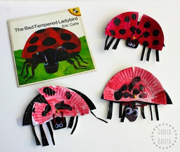 paper plate moving ladybirds with the book The Bad Tempered Ladybird by Eric Carle