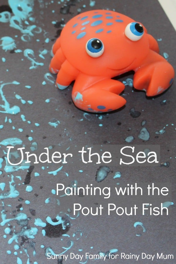 Printing and painting with toys to create under the sea pictures bringing alive the storybook Pout Pout Fish