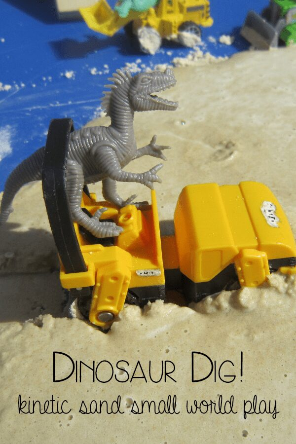 Dinosaur small world play connect and play with the children's storybook Dinosaur Dig! using Kinetic Sand