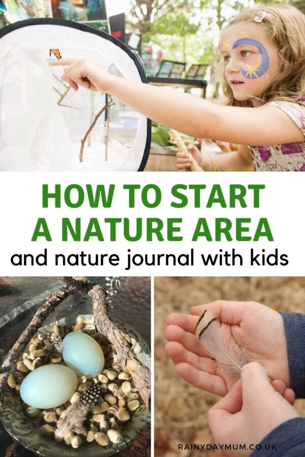 How to start a nature area and journal with kids pinterest image