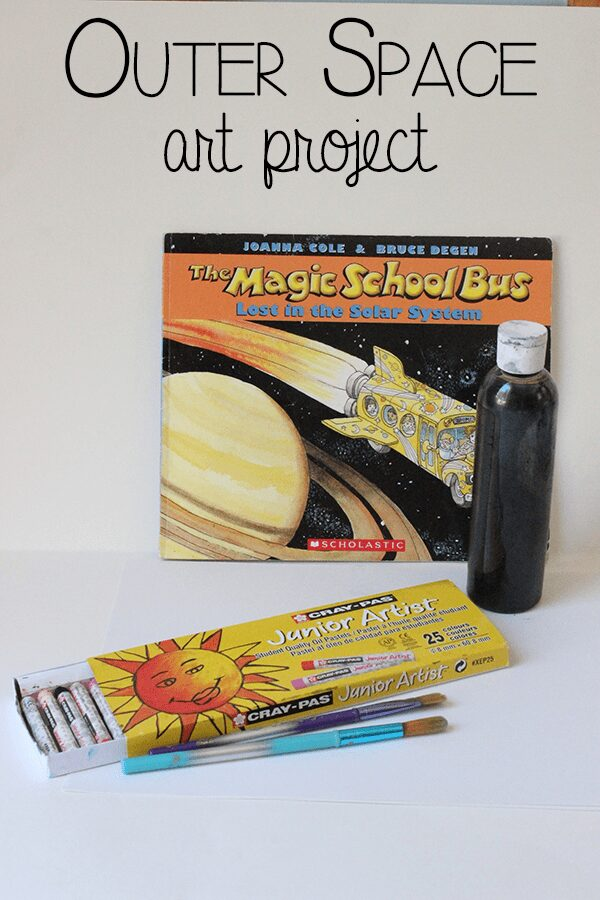 Outer space art project for kids, simple art techniques to produce a solar system picture based on The Magic School Bus: Lost in the Solar System Book