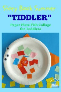 Simple craft for kids, a paper plate fish collage ideal for the favourite children's storybook tiddler by Julia Donaldson