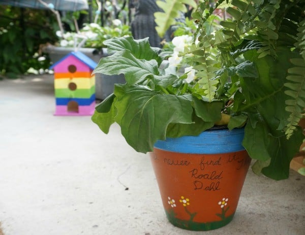 Roald Dahl inspired Minpins painted pots, literacy ideas for older kids