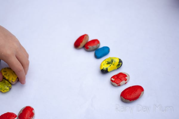 DIY Superhero Inspired Pattern Stones for first and second grade mathematics pattern and sequence work