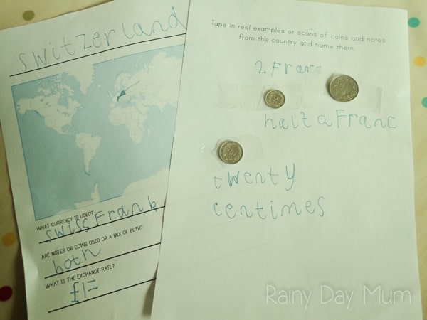 Currency collection - combine geography and math with your travel and those of you know whilst learning about currency from around the world - includes a free printable