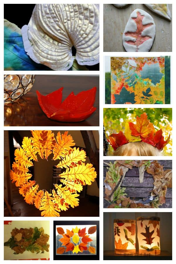 10 Fall Leaf Crafts for kids using real leaves