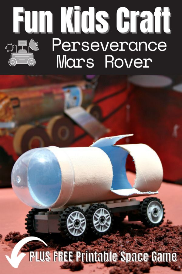 Pintgerest image for an easy kids craft to make your own Mars Perseverance Rover